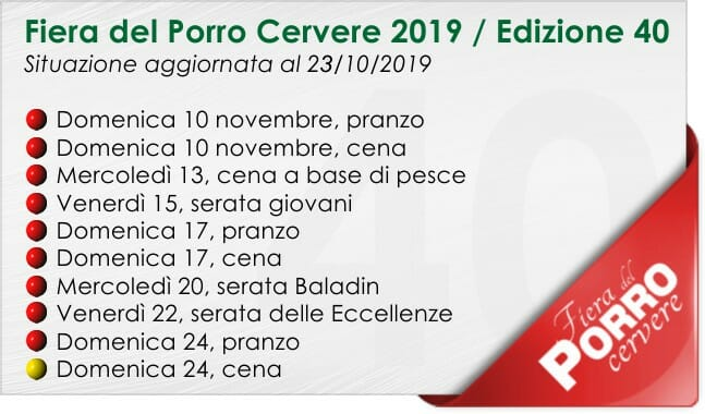 Fiera del Porro Cervere 2019: posti disponibili al 23 ottobre